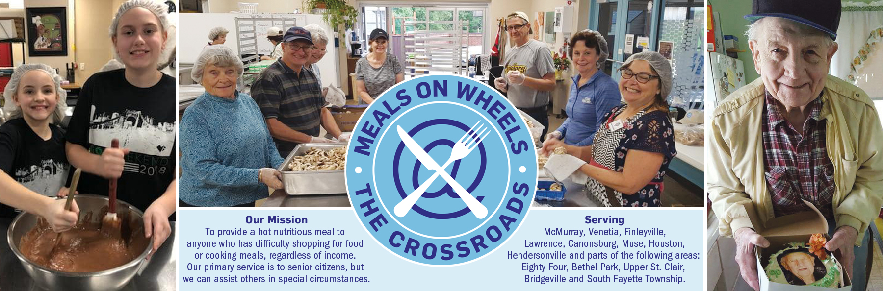 Photos of volunteers, client and Meals on Wheels logo, mission and service areas
