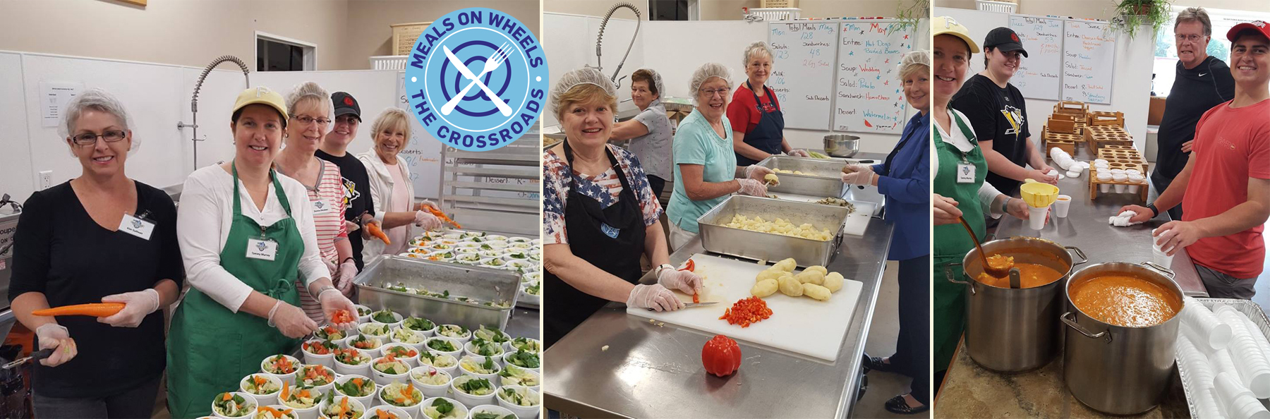 Photos of volunteers preparing meals